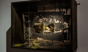 """Maria Koshenkova """"Light-Box 1"""" Wood, Honeycomb, Beeswax"""
