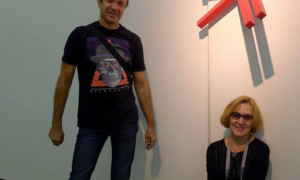 Valeriy Kazas (Russia) RED ON THE WALL and curator Elena Shipicina